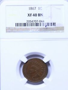 1867 INDIAN CENT : NGC XF40BN
