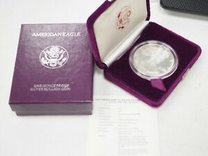 1989 AMERICAN SILVER EAGLE 1 OZ PROOF COIN DISPLAY BOX CERTIFICATE TONED