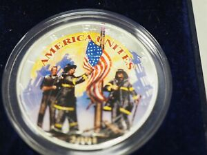 2001 AMERICAN SILVER EAGLE COLORIZED COIN REMEMBERING OUR HEROES 9 11  A