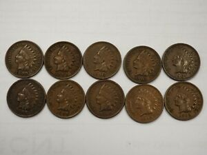 1900 1909 INDIAN HEAD CENTS  10 COIN LOT   4