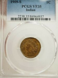 1909 S INDIAN HEAD CENT PCGS VF 35  4937
