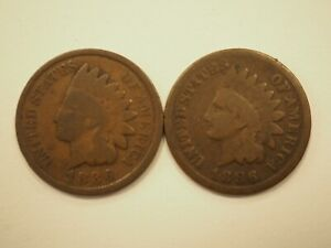1886 TYPE 1 & TYPE 2 INDIAN HEAD CENTS  2 COIN LOT  1C 155