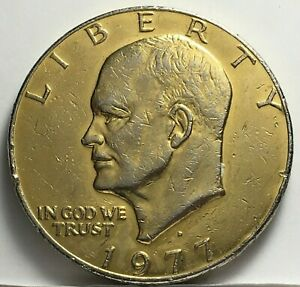 GOLD PLATED 1977 D EISENHOWER DOLLAR    & TRACKING