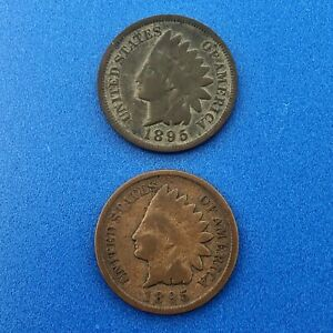 1895 INDIAN HEAD ONE CENT PENNY TYPE 3 BRONZE BETTER PHILADELPHIA TWO COIN LOT