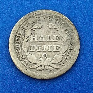 1856 O SILVER SEATED LIBERTY HALF DIME 5C TYPE 2 STARS BETTER NEW ORLEANS COIN