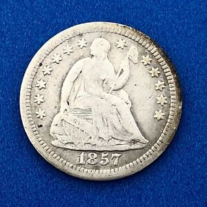1857 O SILVER SEATED LIBERTY HALF DIME 5C TYPE 2 STARS BETTER NEW ORLEANS COIN