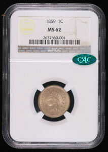 1859 INDIAN HEAD CENT PENNY COIN NGC MS62 CAC