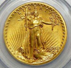1907 PCGS MS63 HIGH RELIEF WIRE EDGE $20 ST. GAUDENS