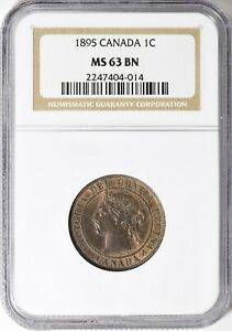 1895 CANADA LARGE CENT NGC MS 63 BN 1C