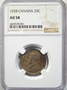 1928 CANADA SILVER 25 CENTS NGC AU 58 25C