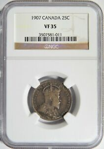 1907 CANADA SILVER 25 CENTS NGC VF 35 25C
