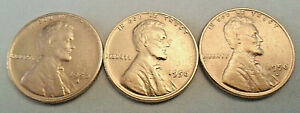 1950 P D S LINCOLN WHEAT CENT / PENNY COIN SET   FINE OR BETTER