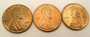 1951 P D S LINCOLN WHEAT CENT / PENNY SET    FINE OR BETTER