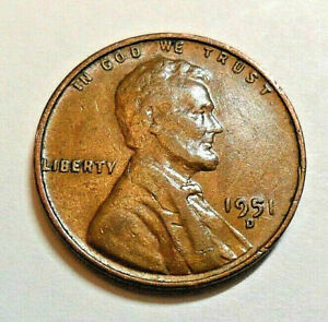 1951 D LINCOLN WHEAT CENT / PENNY COIN    FINE OR BETTER