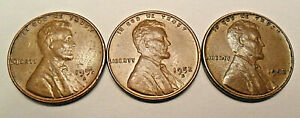 1952 P D S LINCOLN WHEAT CENT / PENNY SET    FINE OR BETTER