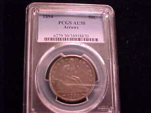 1854 WITH ARROWS SEATED LIBERTY HALF DOLLAR.  PCGS AU 50 GRADED & CERTIFIED.