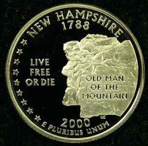 2000 S DEEP CAMEO CLAD PROOF NEW HAMPSHIRE STATE QUARTER  C01