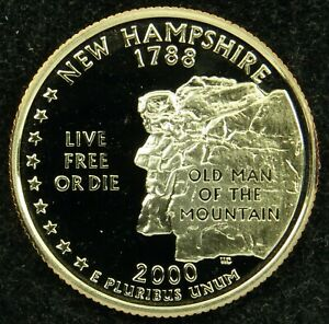 2000 S DEEP CAMEO CLAD PROOF NEW HAMPSHIRE STATE QUARTER  C03