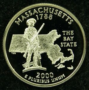 2000 S DEEP CAMEO CLAD PROOF MASSACHUSETTS STATE QUARTER  C01