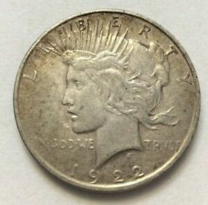 EARLY   1922 D   PEACE SILVER DOLLAR   90  SILVER US COIN