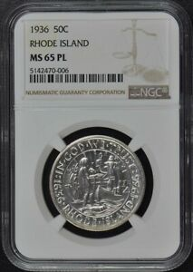 RHODE ISLAND 1936 SILVER COMMEMORATIVE 50C NGC MS65PL