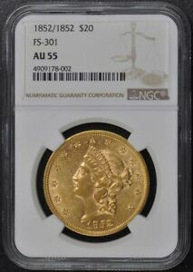 1852/1852 LIBERTY DOUBLE EAGLE TYPE 1 FS 301 $20 NGC AU55