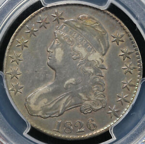1826 50C CAPPED BUST HALF DOLLAR PCGS XF DETAIL CLEANED