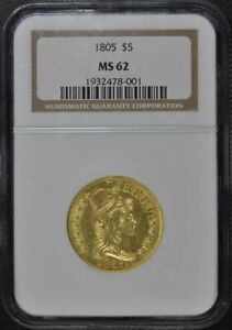 1805 DRAPED BUST $5 NGC MS62