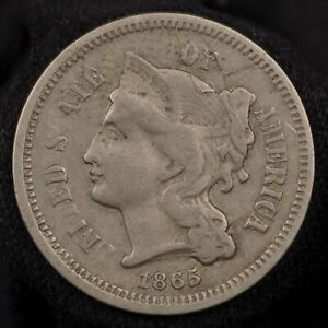 1865 THREE CENT NICKEL    VF CONDITION WITH LAMINATION