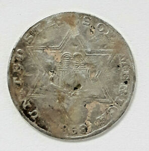 1858  UNITED STATES 90  SILVER 3 CENT  TRIME    J1520 168