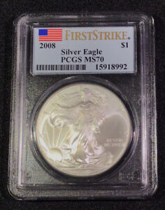 2008 SILVER EAGLE PCGS MS70 FIRST STRIKE