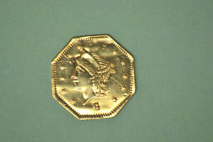 1867 $1/4 CAL GOLD BG 742 STRONG DETAILS/LUSTER/REPAIR. FROM LOCAL COLLECTION.