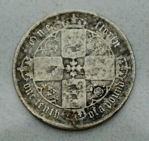 Click now to see the BUY IT NOW Price!  OLD 1852 GREAT BRITAIN BRITISH STERLING SILVER 2/  GOTHIC FLORIN COIN NICE