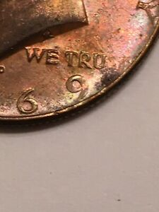 1967 D US KENNEDY HALF DOLLAR DIE ERROR MISSING ST 40  SILVER LOT TONED COIN