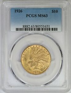 1926 P PCGS $10 GOLD INDIAN EAGLE MS63 MINT STATE PRE 33 US COIN