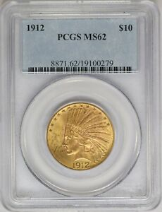 1912 P PCGS $10 GOLD INDIAN EAGLE MS62 MINT STATE PRE 33 US COIN