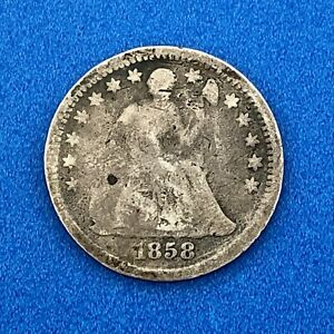 1858 O SILVER SEATED LIBERTY HALF DIME 5C TYPE 2 STARS BETTER NEW ORLEANS COIN