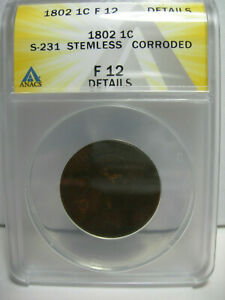 1802 STEMLESS S 231 DRAPED BUST LARGE CENT ANACS F 12 COPPER PENNY FINE DETAILS
