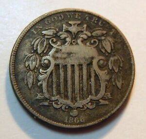 1866 U.S. SHIELD NICKEL WITH RAYS   VG DETAILS    5 CENT COIN