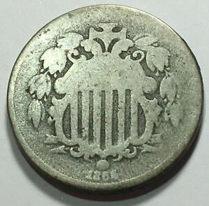 1860'S SHIELD NICKEL WITH RAYS   SHIPS FREE