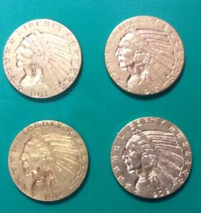 4 EXTRA NICE 1909 D 1911 1914 1915 GOLD $5 INDIAN FIVE DOLLAR HALF EAGLE COINS
