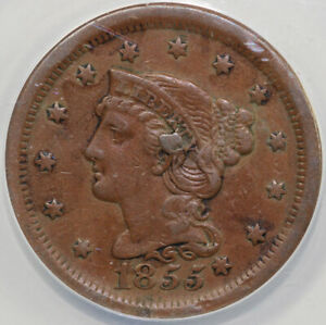 1855 1C N 9 KNOB ON EAR BRAIDED HAIR LARGE CENT ANACS VF 35 DETAILS SCRATCHED