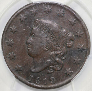 1819 1C N 7 CORONET OR MATRON HEAD LARGE CENT PCGS VF 35