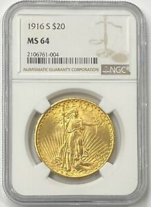 1916 S $20 SAINT GAUDENS GOLD DOUBLE EAGLE PRE 33 NGC MS64 AMAZING LOOK IN HAND