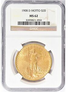 1908 D $20 SAINT GAUDENS GOLD DOUBLE EAGLE WITH MOTTO NGC MS62 AMAZING COIN PQ