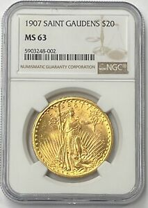 1907 P $20 SAINT GAUDENS GOLD DOUBLE EAGLE PRE 33 NGC MS63 BEAUTIFUL FIRST YEAR