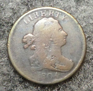 1804 1/2C DRAPED BUST HALF CENT VG CONDITION  PLAIN 4 STEMLESS