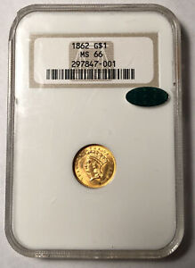 GOLD DOLLARS INDIAN PRINCESS HEAD LARGE HEAD 1862 P NGC MS 66  CAC