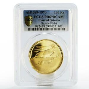 Click now to see the BUY IT NOW Price! UNITED ARAB EMIRATES UMM AL QAIWAIN 100 RIYALS GAZELLE PR 69 PCGS GOLD COIN 1970