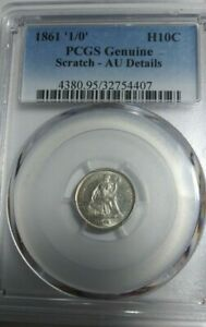 1861 '1/0' H10C SEATED LIBERTY HALF DIME PCGS AU DETAIL     OVER DATE